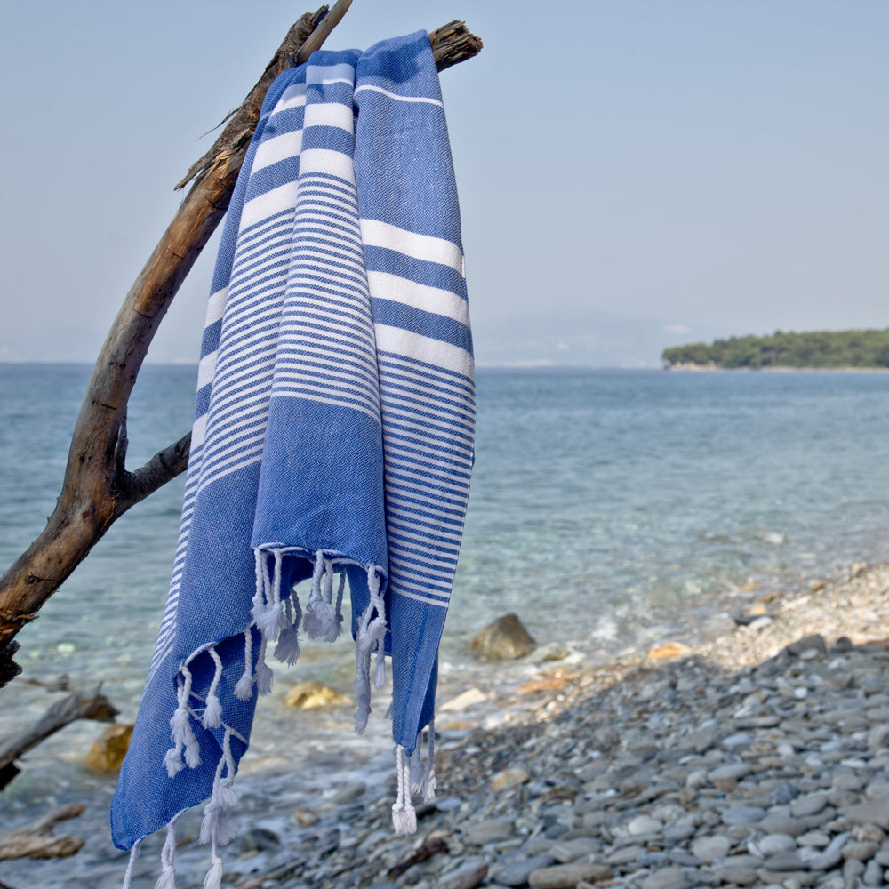 Fiscardo Denim Blue Turkish Cotton Hammam Beach Towel