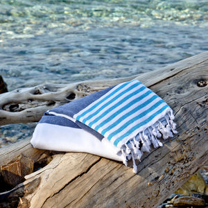 antorini Navy Turquoise Maavi Turkish Hammam Cotton Beach Towel