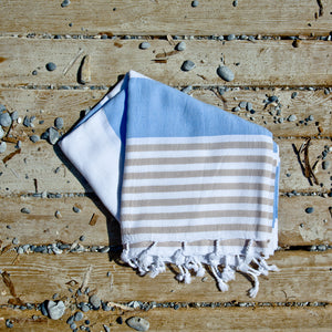 Santorini Light Blue Cream Maavi Turkish Hammam Cotton Beach Towel