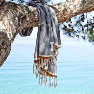Maavi Mykonos Denim Blue Turkish Cotton Hammam Beach Towel