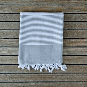 Fiscardo Sandy Grey Turkish Cotton Hammam Beach Towel