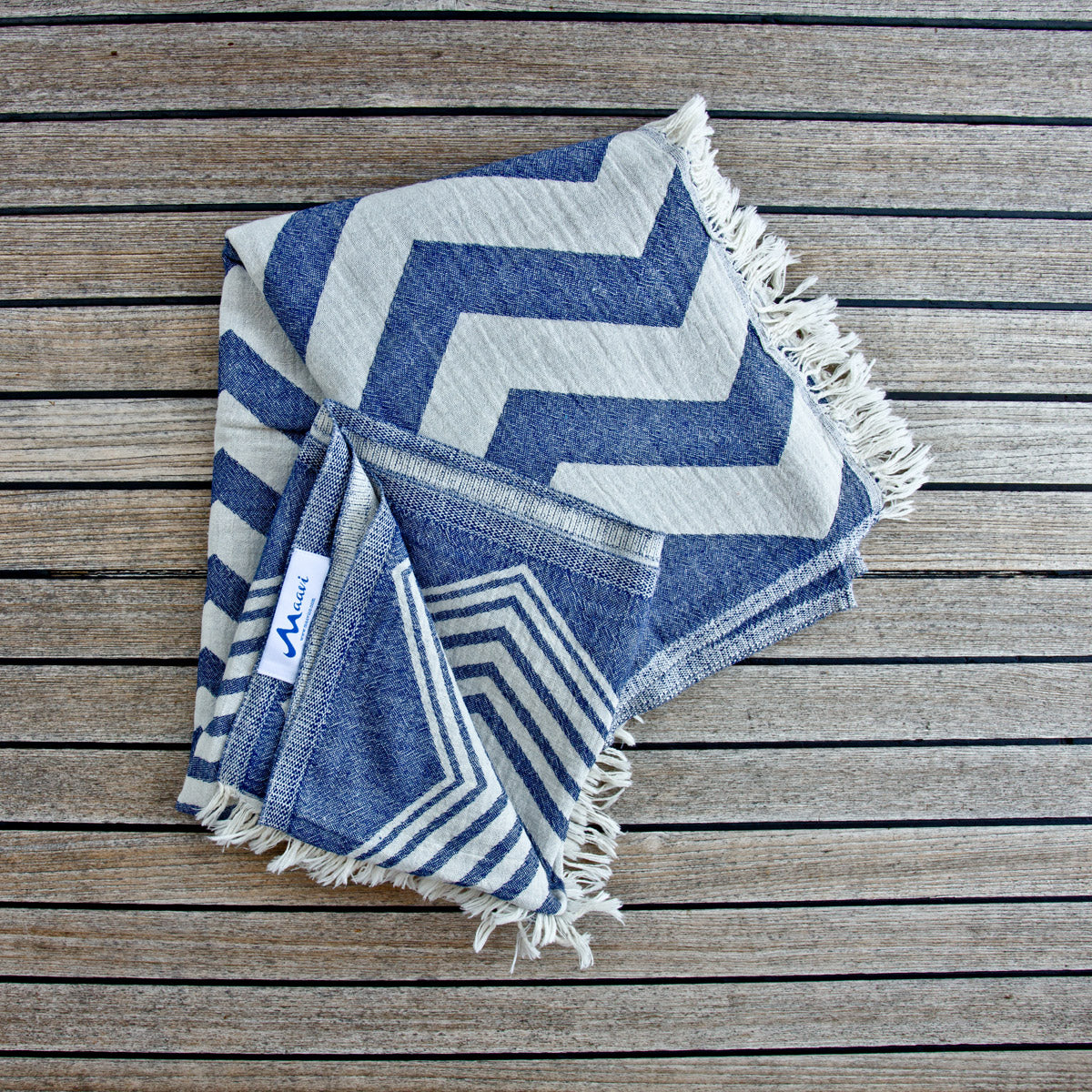 Turkish Cotton Hammam Beach Towel Rio Navy