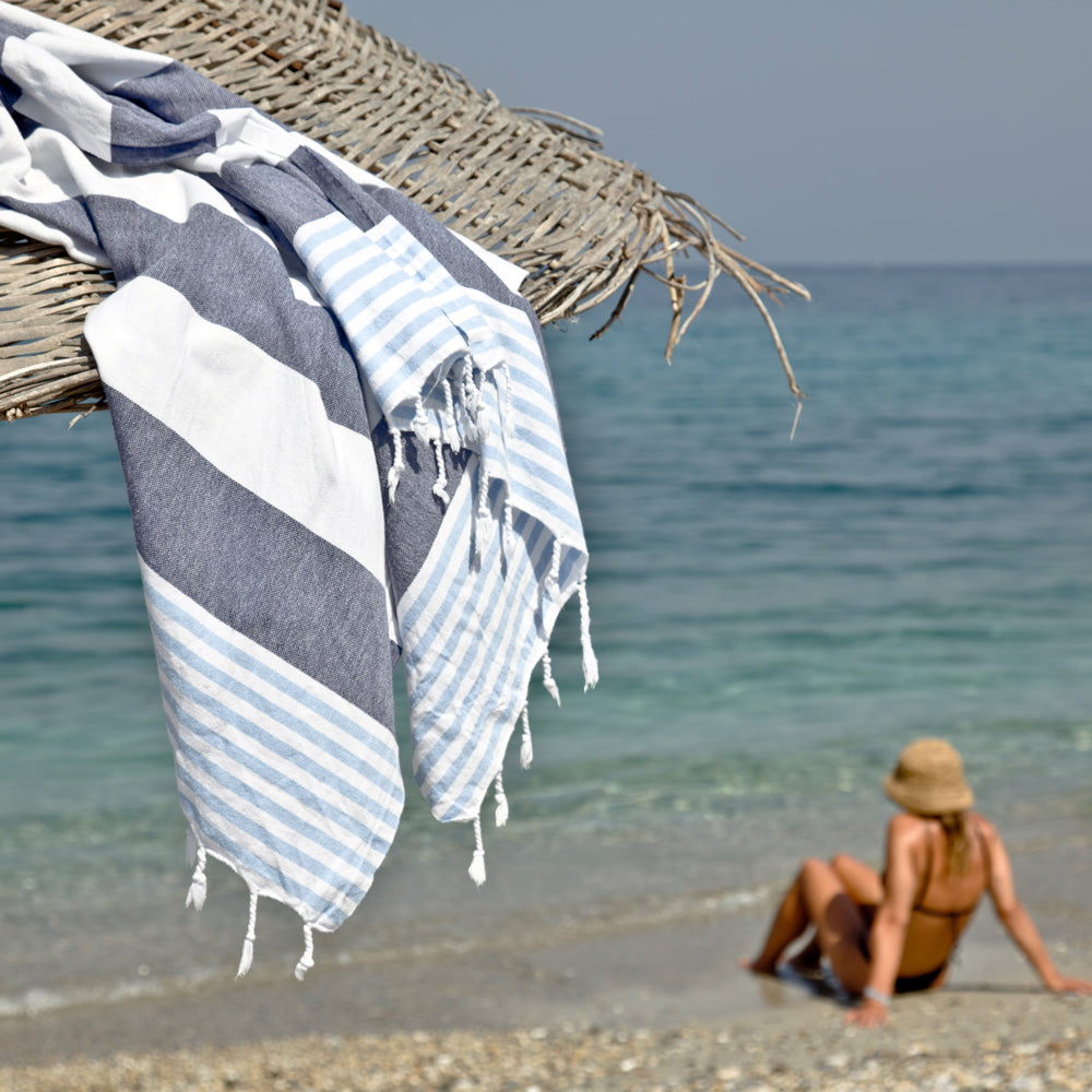 Maavi Santorini · Navy & Sky Blue Stripes Turkish Cotton Hammam Towel