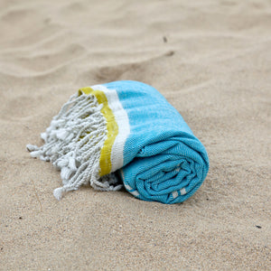 Mykonos Turquoise Cotton Hammam Beach Towel