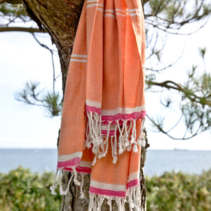 Mykonos Tangerine Maavi Turkish Hammam Beach Towel