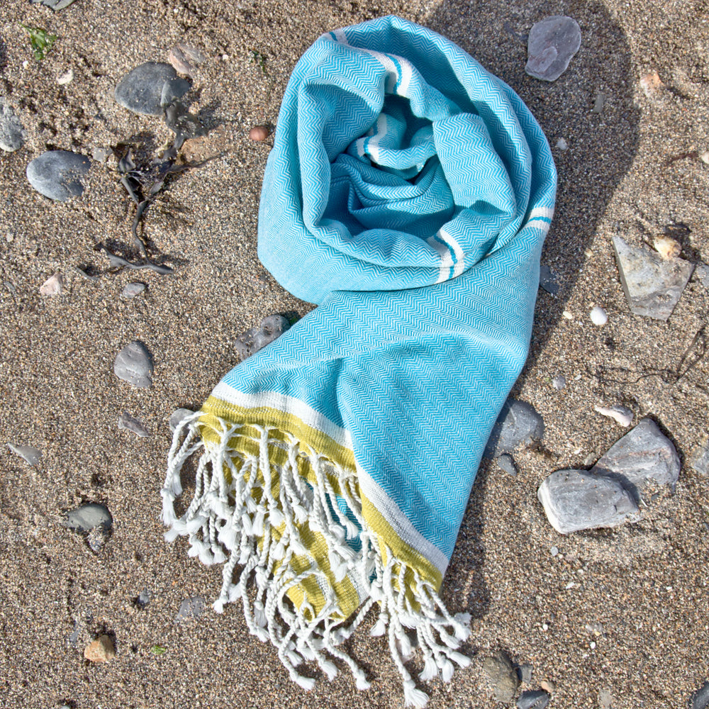 Mykonos Turquoise Maavi Turkish Hammam Beach Towel
