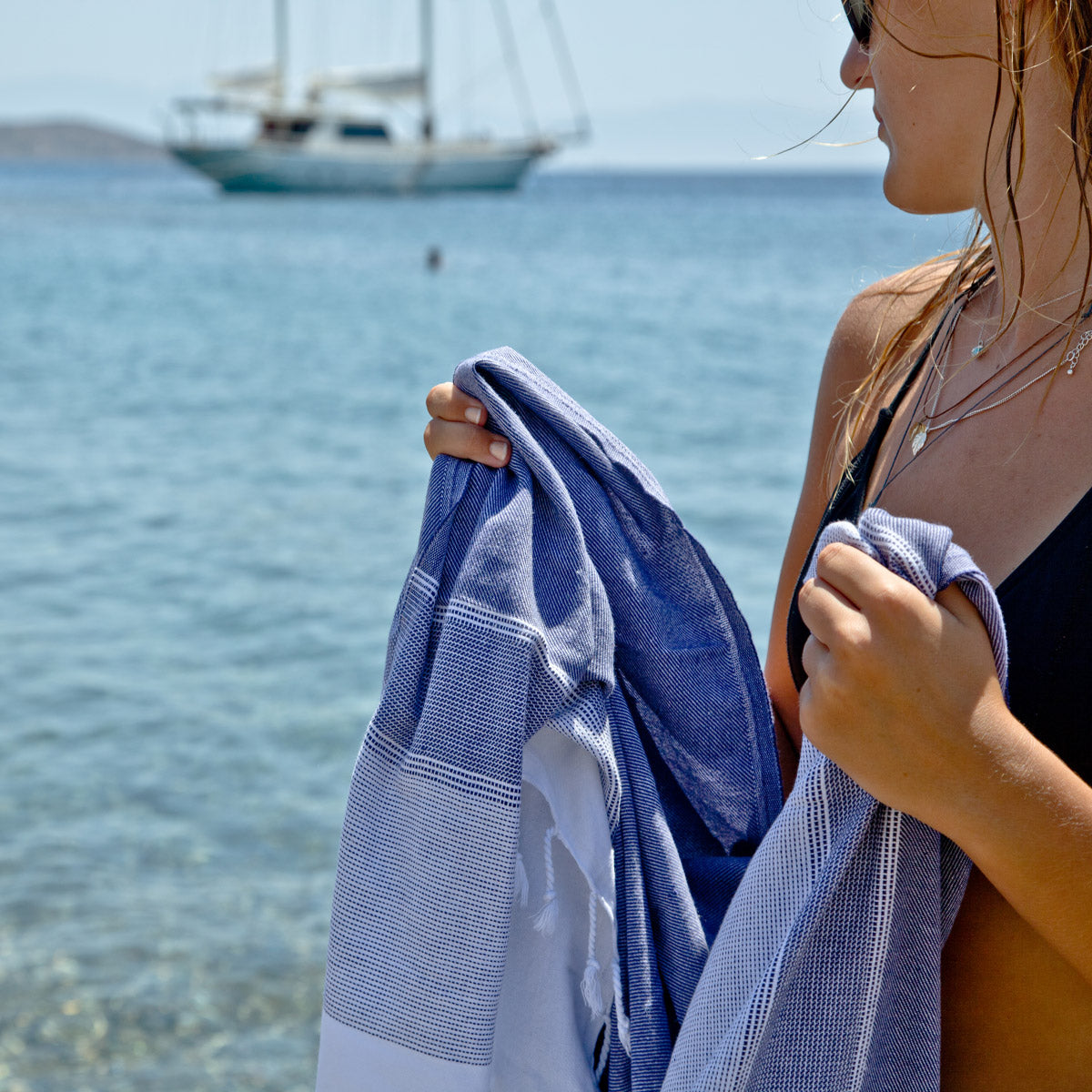 Fistral Navy Turkish Cotton Hammam Beach Towels Fouta