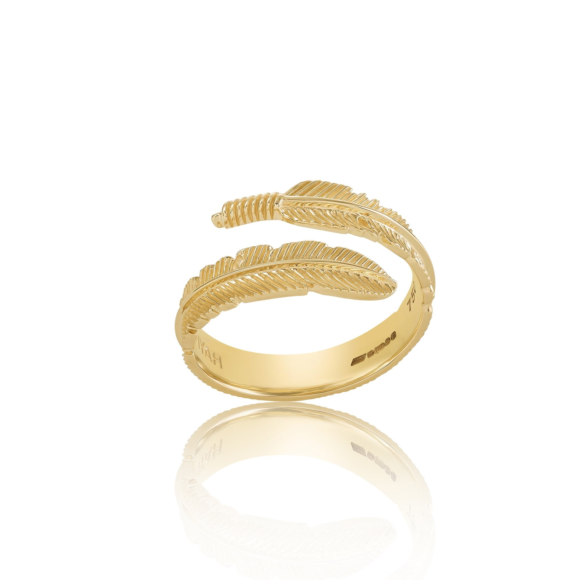 18ct Gold Adjustable Plume Ring - FIYAH.fr