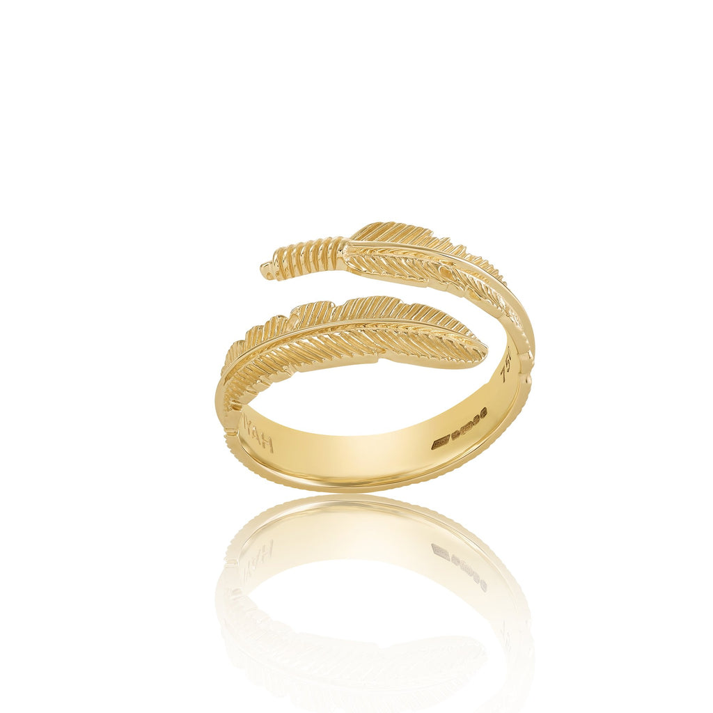 18ct Gold Adjustable Plume Ring