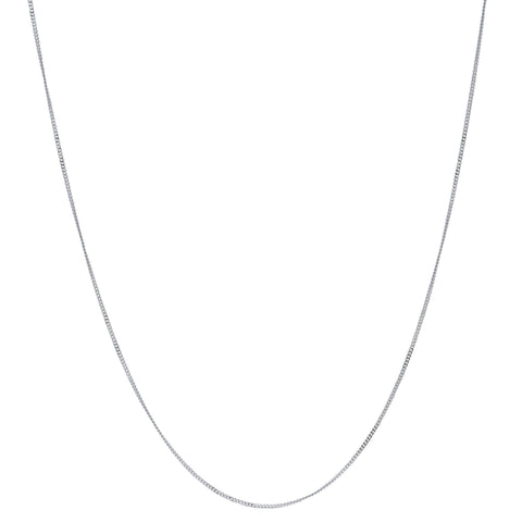 "18"" 9ct White Gold Curb Link Chain - FIYAH.fr"