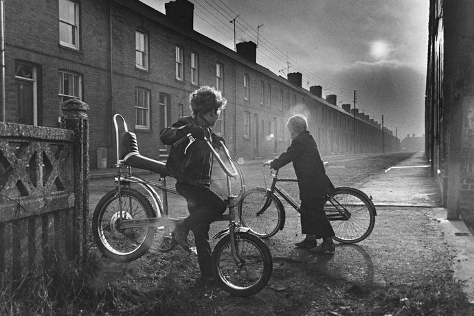 Two boys on bikes, 1973