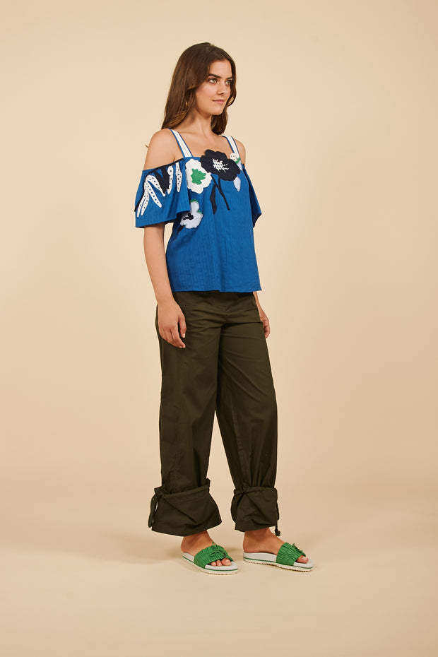 Tanya Taylor Ali Top in Blue with Floral Applique - Angle View