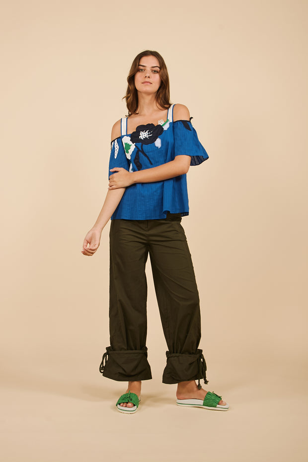 Tanya Taylor Ali Top in Blue with Floral Applique - Full View