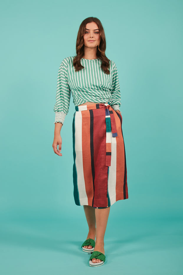 Tanya Taylor Green Striped Chioma Top - Full View