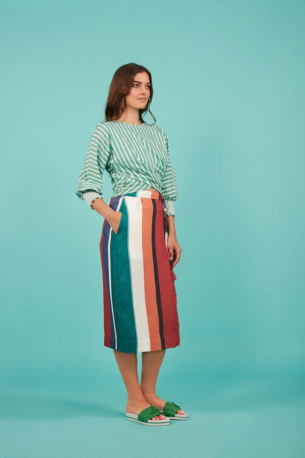 Tanya Taylor Green Striped Chioma Top - Side View