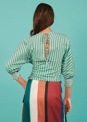 Tanya Taylor Green Striped Chioma Top - Back View