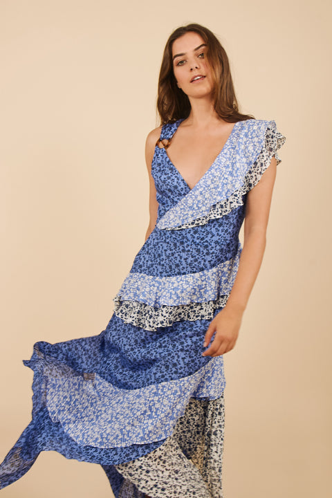 Tanya Taylor Gael Dress in Blue Floral - Zoom View