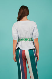 Tanya Taylor Belted Suma Top in Blue Stripe - Back View