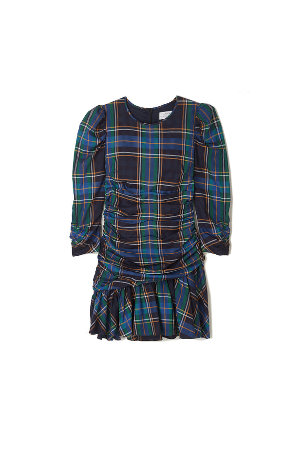 Tanya Taylor Navy Plaid Raven Dress
