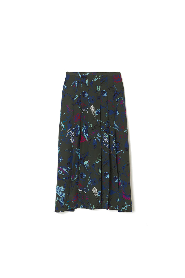 Tanya Taylor Green Floral Margaux Skirt
