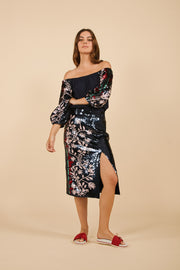 Tanya Taylor Belted Elisa Skirt in Navy Sequin - Full View