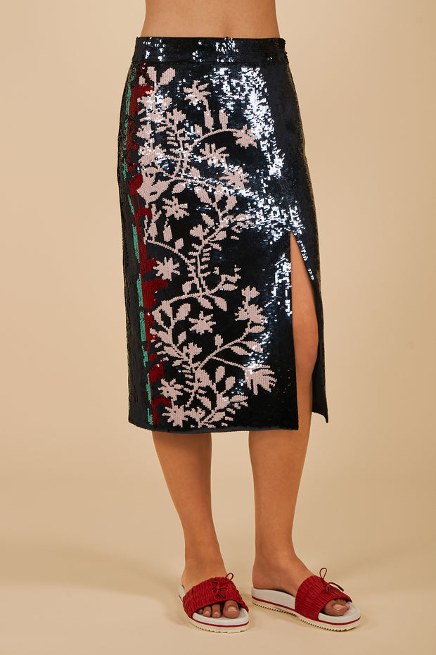 Tanya Taylor Belted Elisa Skirt in Navy Sequin - Front View
