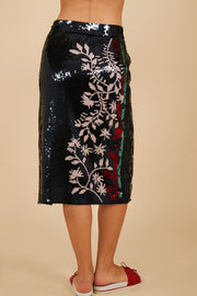 Tanya Taylor Belted Elisa Skirt in Navy Sequin - Back View