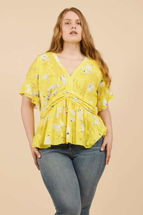 Tanya Taylor Fabiana Top in Yellow Floral - Front View