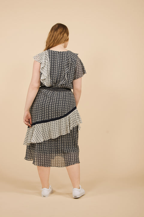 Tanya Taylor Adelina Dress in Ikat Crinkle - Back View