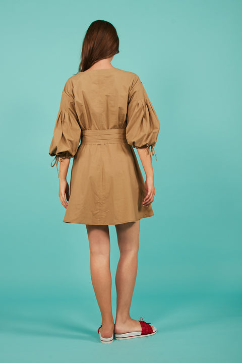 Tanya Taylor Rachele Bell Sleeve Khaki Dress - Back