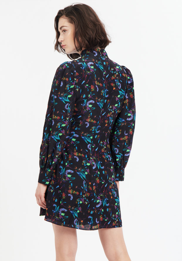 Tanya Taylor Back View Black Floral Clarisse Dress