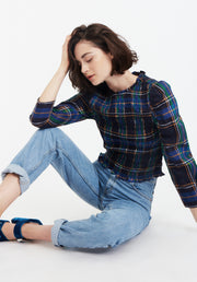 Tanya Taylor Navy Plaid Katherine Top