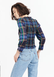 Tanya Taylor Navy Plaid Katherine Top Back View