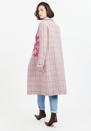 Tanya Taylor Pink Plaid Leida II Coat Back View