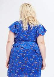 Tanya Taylor Blue Floral Madelena Dress Back View