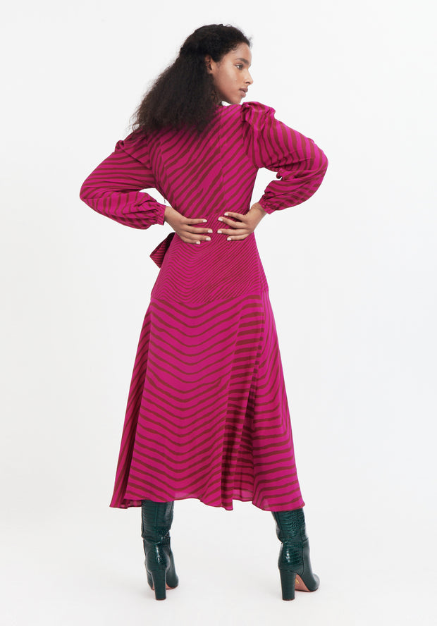 Tanya Taylor Pink Zebra Marcela Dress Back View