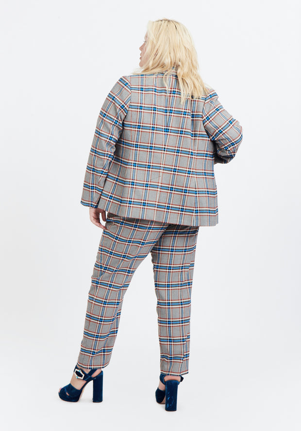 Tanya Taylor Grey Plaid Melena Jacket Back View
