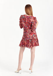 Tanya Taylor Pansy Dress Red Leopard