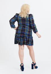 Tanya Taylor Navy Plaid Raven Dress Back View