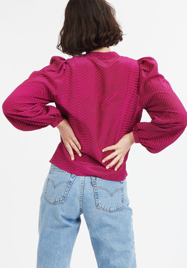 Tanya Taylor Pink Zebra Rebekah Top Back View