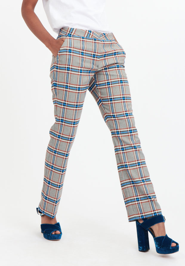 Tanya Taylor Grey Plaid Suit Pant