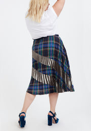 Tanya Taylor Plaid and Gold Reyna Skirt, Back View