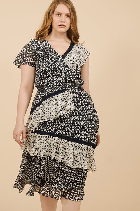 Tanya Taylor Adelina Dress in Ikat Crinkle - Front View