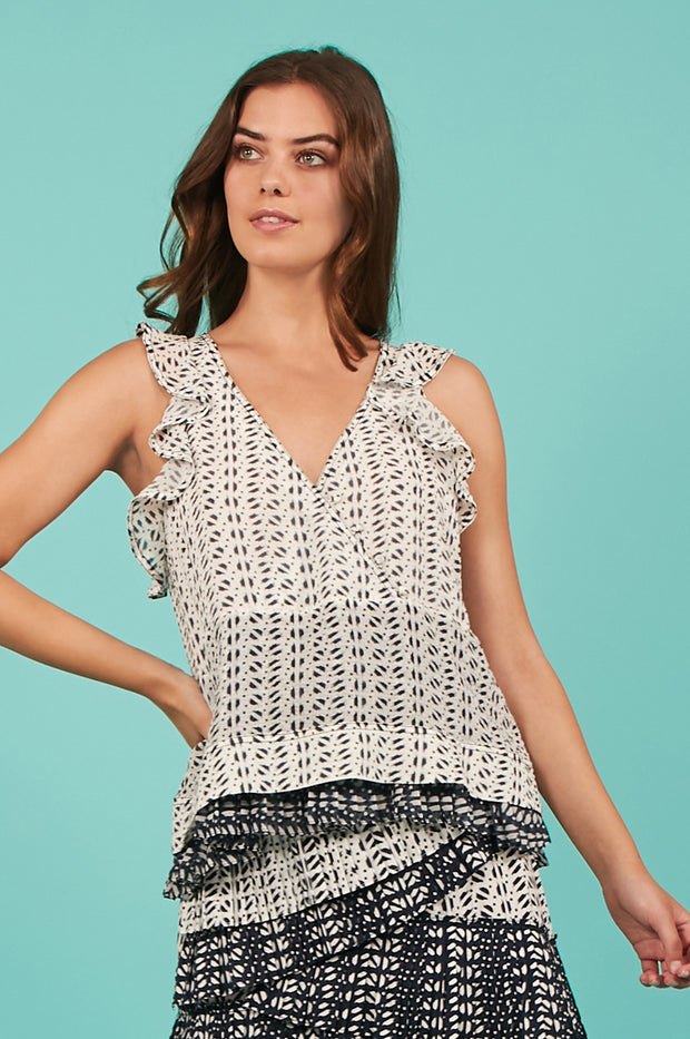 Tanya Taylor Mila Top in White and Navy Ikat - Front View