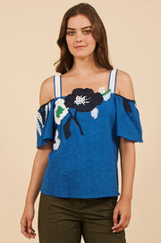 Tanya Taylor Ali Top in Blue with Floral Applique - Front View