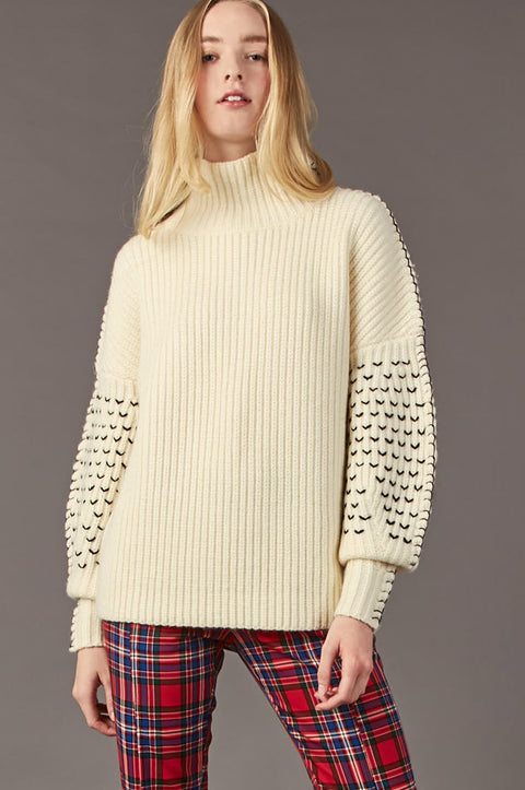 Tanya Taylor Alice Knit Sweater in Cream Knit - Zoom View