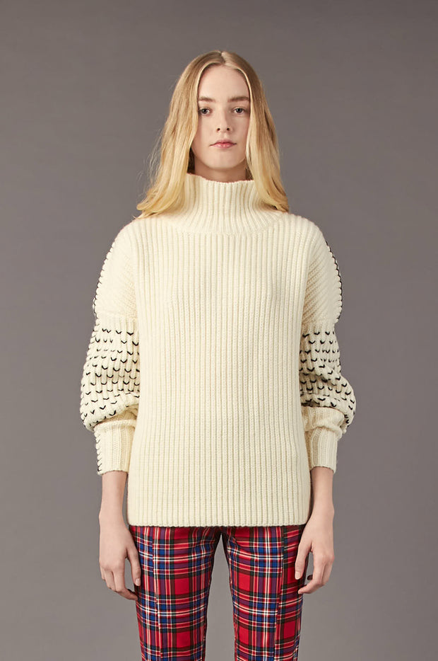 Tanya Taylor Alice Knit Sweater in Cream Knit - Front View