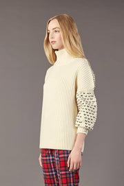 Tanya Taylor Alice Knit Sweater in Cream Knit - Side View