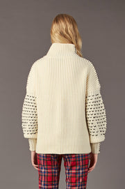Tanya Taylor Alice Knit Sweater in Cream Knit - Back View