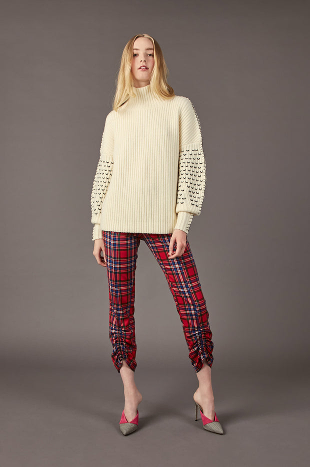 Tanya Taylor Alice Knit Sweater in Cream Knit - Full View